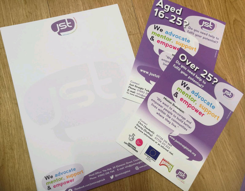 Letterheads and leaflets for JST Just Straight talk