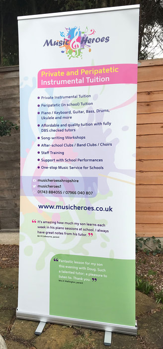 Music Heroes banner stand